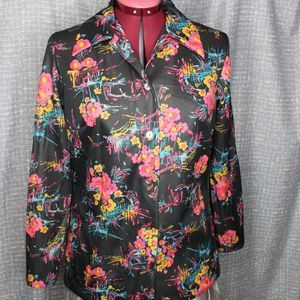 Mod 1970's abstract floral & splashes blouse
